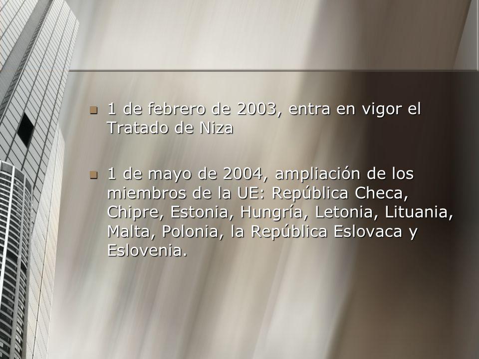 1 de febrero de 2003, entra en vigor el Tratado de Niza 1 de febrero de 2003, entra en vigor el Tratado de Niza 1 de mayo de 2004, ampliación de los m