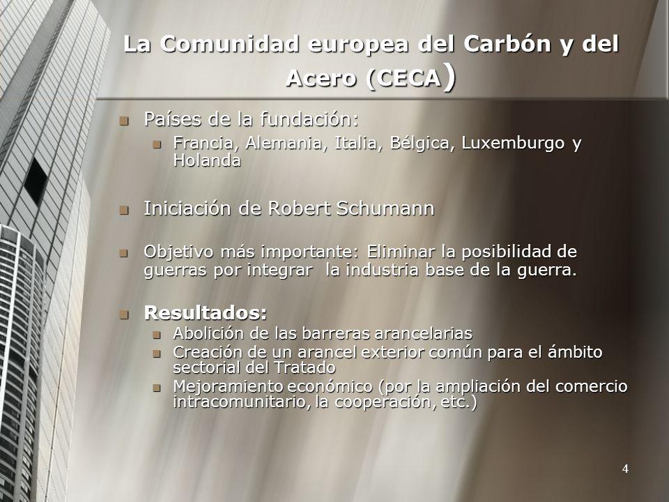 4 La Comunidad europea del Carbón y del Acero (CECA ) Países de la fundación: Países de la fundación: Francia, Alemania, Italia, Bélgica, Luxemburgo y