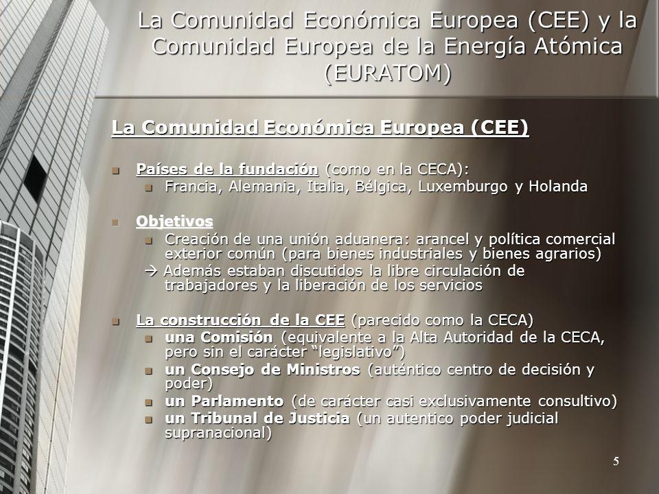 La Comunidad Europea de la Energía Atómica (EURATOM) Países de la fundación: (como en la CECA: FR, GER, IT, Países de la fundación: (como en la CECA: FR, GER, IT, BL, LUX, H) BL, LUX, H) Objetivos Objetivos Para reglar el uso de las materias primas por la relación de la energía nuclear con la industria armamentista.