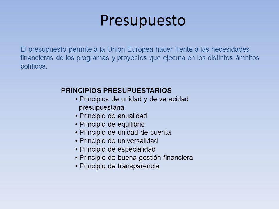 Presupuesto El presupuesto permite a la Unión Europea hacer frente a las necesidades financieras de los programas y proyectos que ejecuta en los disti