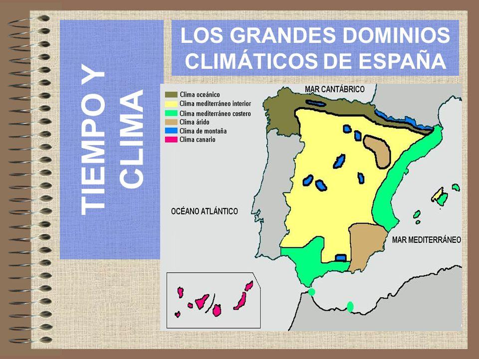 TIEMPO Y CLIMA LOS GRANDES DOMINIOS CLIMÁTICOS DE ESPAÑA