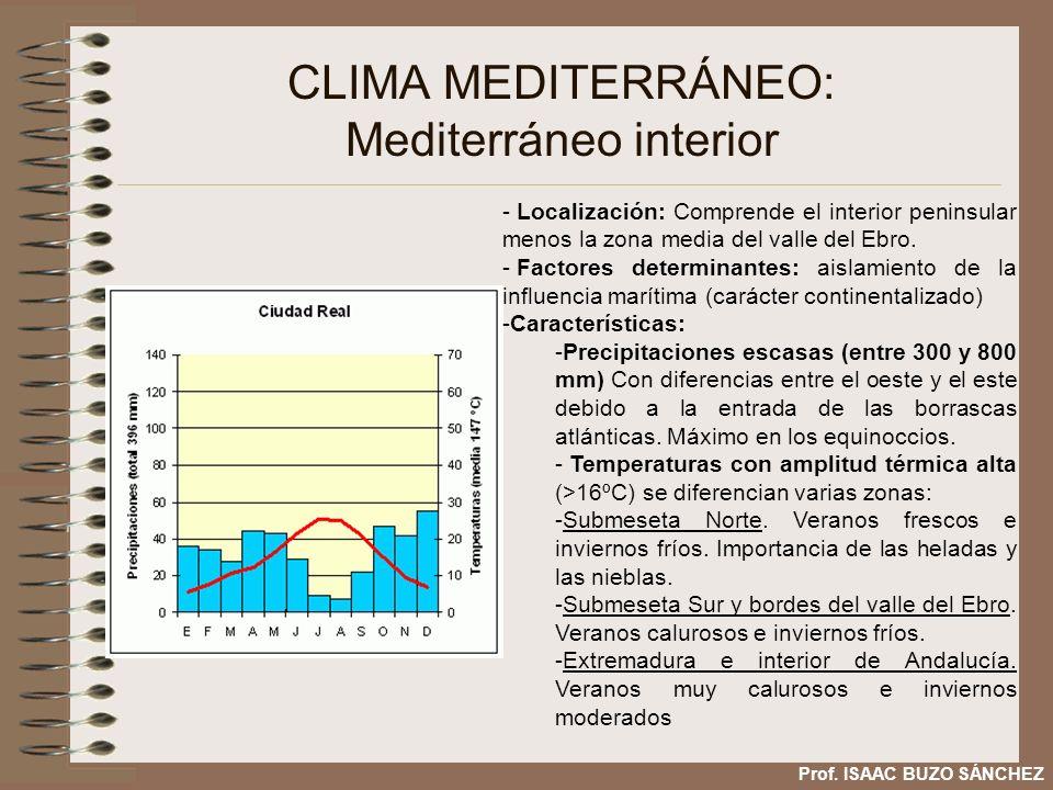 CLIMA MEDITERRÁNEO: Mediterráneo interior - Localización: Comprende el interior peninsular menos la zona media del valle del Ebro. - Factores determin