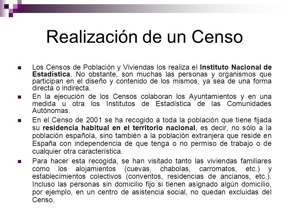 Realización de un Censo Los Censos de Población y Viviendas los realiza el Instituto Nacional de Estadística. No obstante, son muchas las personas y o