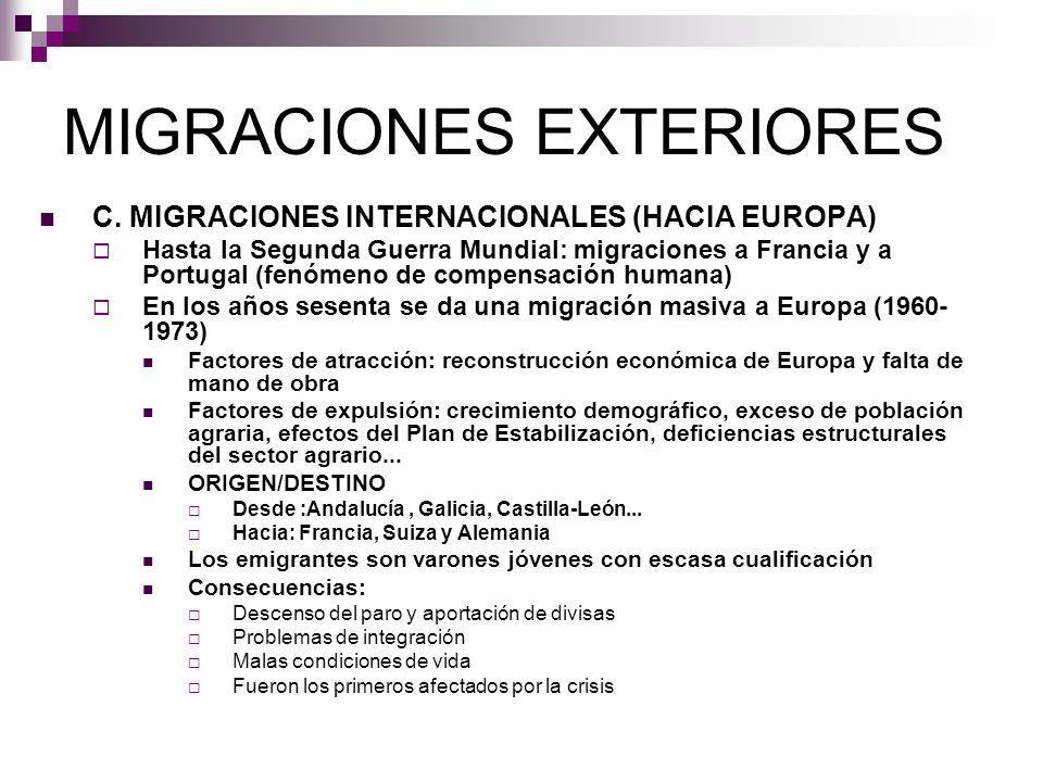 MIGRACIONES EXTERIORES C. MIGRACIONES INTERNACIONALES (HACIA EUROPA) Hasta la Segunda Guerra Mundial: migraciones a Francia y a Portugal (fenómeno de