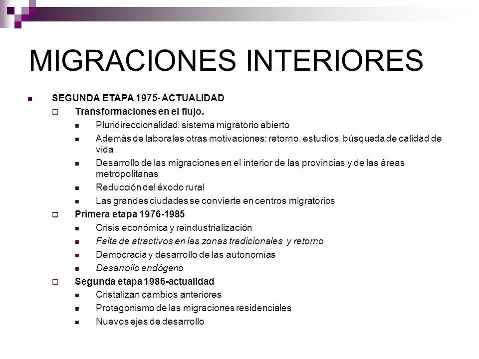 MIGRACIONES INTERIORES SEGUNDA ETAPA 1975- ACTUALIDAD Transformaciones en el flujo. Pluridireccionalidad: sistema migratorio abierto Además de laboral