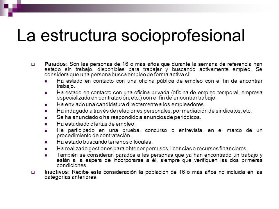 La estructura socioprofesional Parados: Son las personas de 16 o más años que durante la semana de referencia han estado sin trabajo, disponibles para