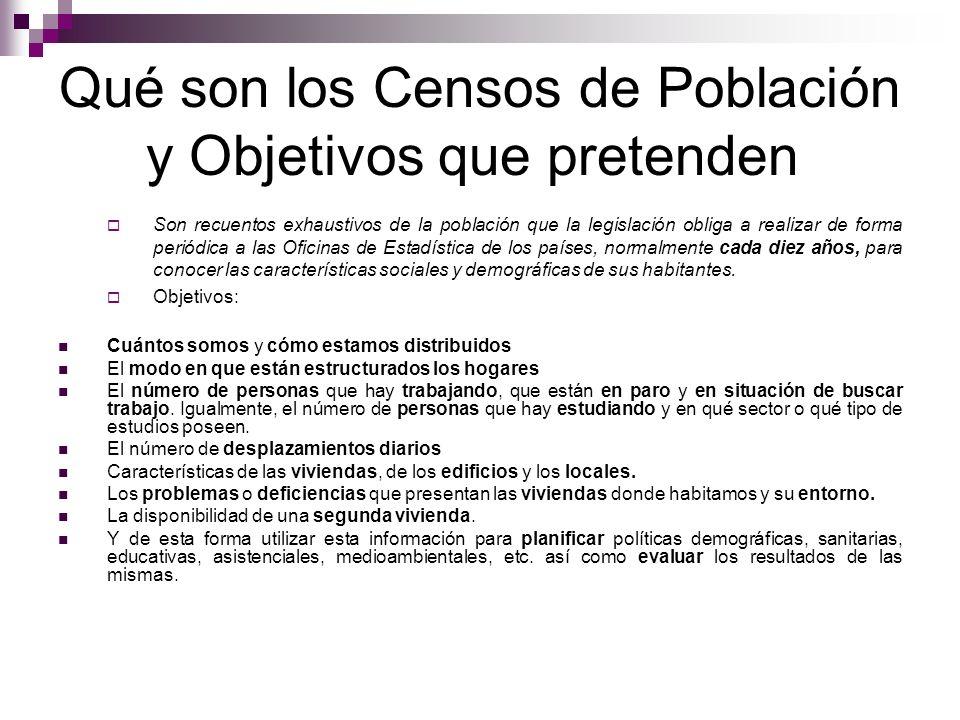 Qué son los Censos de Población y Objetivos que pretenden Son recuentos exhaustivos de la población que la legislación obliga a realizar de forma peri