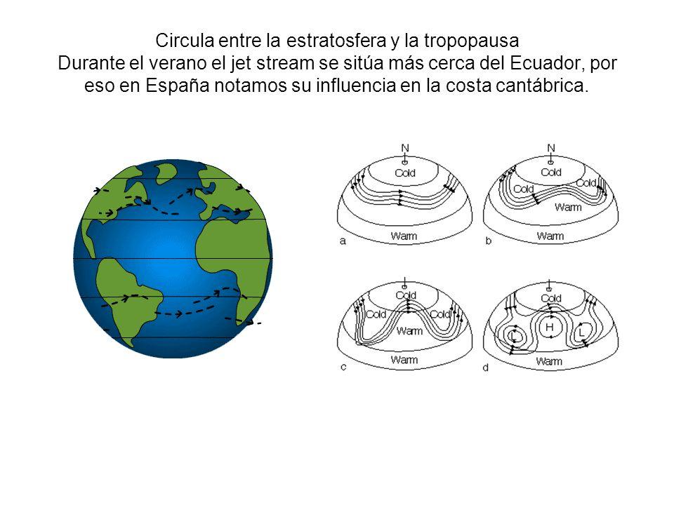 Circula entre la estratosfera y la tropopausa Durante el verano el jet stream se sitúa más cerca del Ecuador, por eso en España notamos su influencia