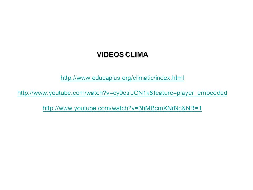 VIDEOS CLIMA VIDEOS CLIMA http://www.educaplus.org/climatic/index.html http://www.youtube.com/watch?v=cy9eslJCN1k&feature=player_embedded http://www.y