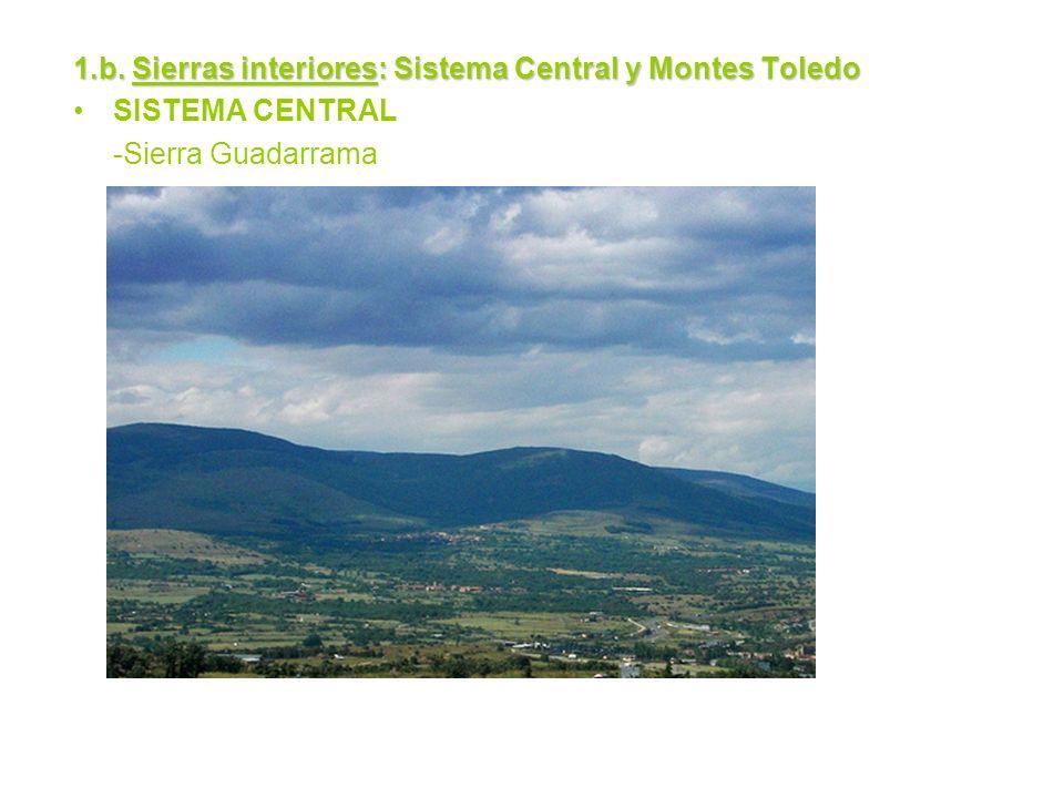 1.b. Sierras interiores: Sistema Central y Montes Toledo SISTEMA CENTRAL -Sierra Guadarrama