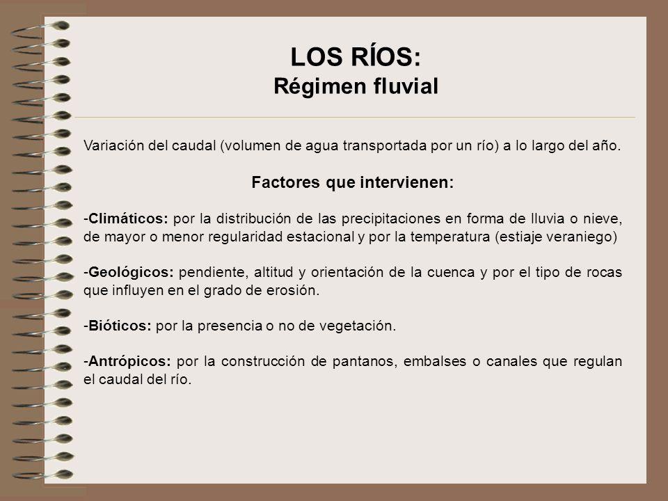 LOS RÍOS: Régimen fluvial Tipos de regímenes fluviales -Nival: el río nace en las altas y medias montañas, presentando el máximo caudal en primavera y verano, coincidiendo con el deshielo, y el mínimo en invierno, al producirse las precipitaciones en forma de nieve que quedar acumuladas.