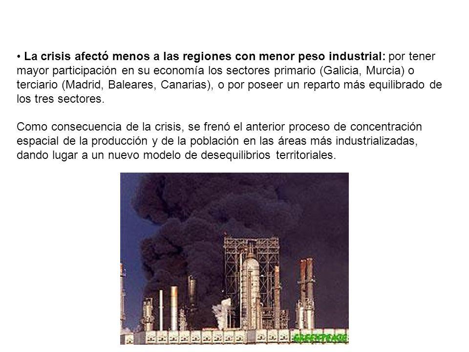 La crisis afectó menos a las regiones con menor peso industrial: por tener mayor participación en su economía los sectores primario (Galicia, Murcia)