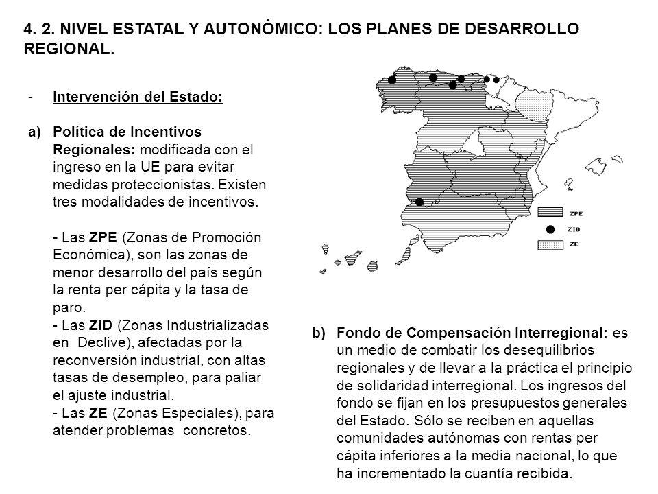 4. 2. NIVEL ESTATAL Y AUTONÓMICO: LOS PLANES DE DESARROLLO REGIONAL. -Intervención del Estado: a)Política de Incentivos Regionales: modificada con el