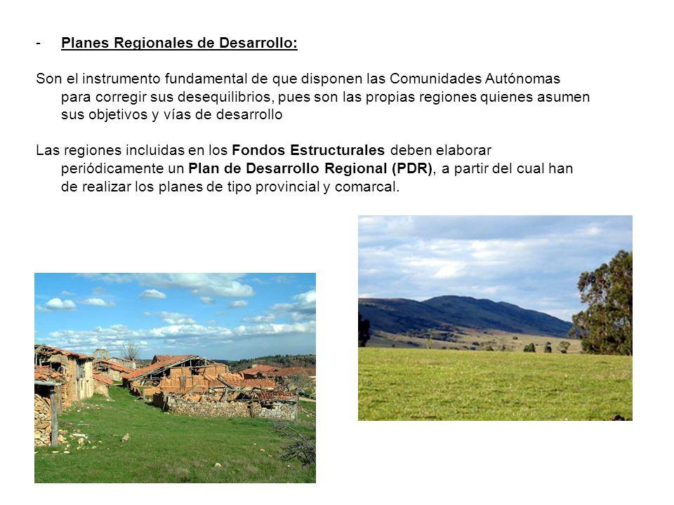 -Planes Regionales de Desarrollo: Son el instrumento fundamental de que disponen las Comunidades Autónomas para corregir sus desequilibrios, pues son