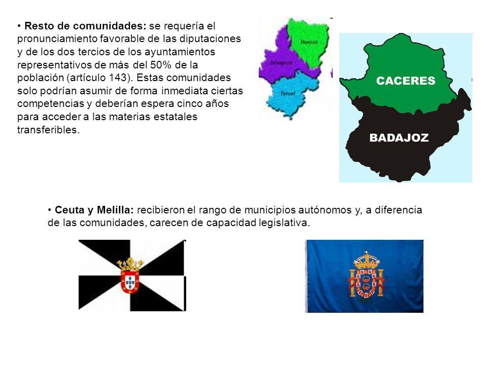 Resto de comunidades: se requería el pronunciamiento favorable de las diputaciones y de los dos tercios de los ayuntamientos representativos de más de