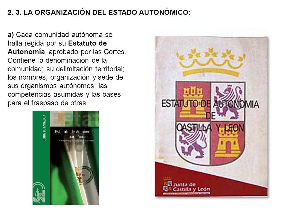 2. 3. LA ORGANIZACIÓN DEL ESTADO AUTONÓMICO: a) Cada comunidad autónoma se halla regida por su Estatuto de Autonomía, aprobado por las Cortes. Contien