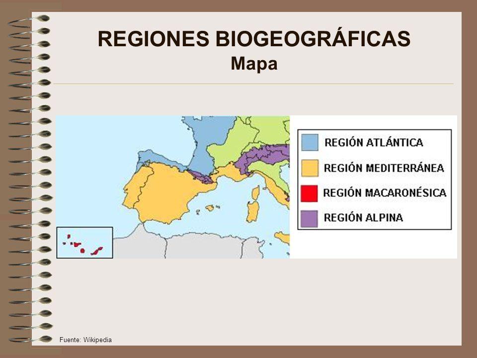 REGIONES BIOGEOGRÁFICAS Mapa Fuente: Wikipedia