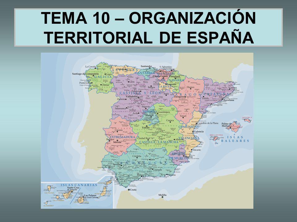 TEMA 10 – ORGANIZACIÓN TERRITORIAL DE ESPAÑA