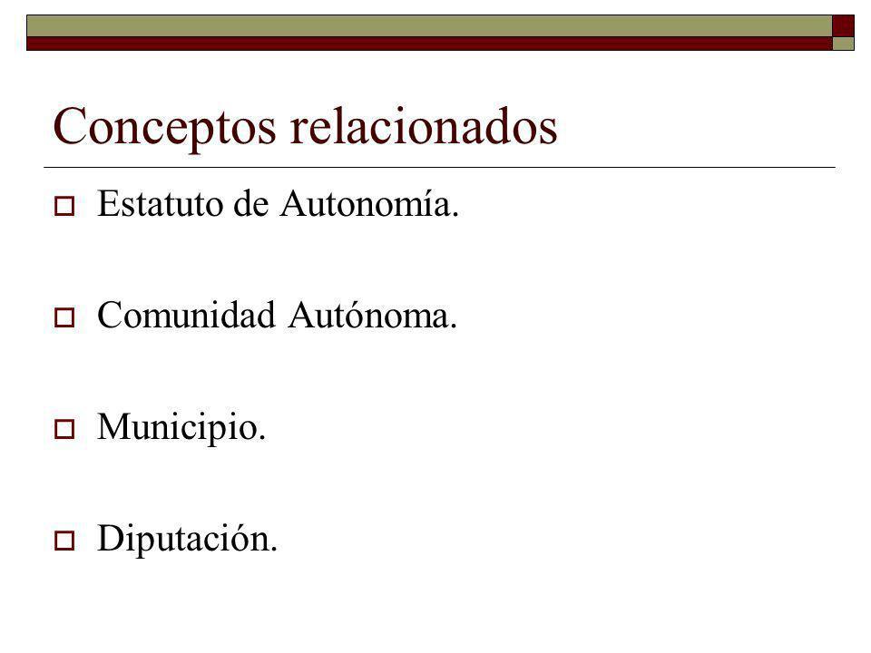 Conceptos relacionados Estatuto de Autonomía. Comunidad Autónoma. Municipio. Diputación.