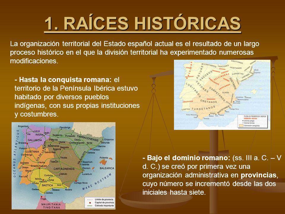 1. RAÍCES HISTÓRICAS La organización territorial del Estado español actual es el resultado de un largo proceso histórico en el que la división territo