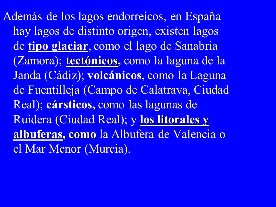 tectónicos,, los litorales y albuferas, como Además de los lagos endorreicos, en España hay lagos de distinto origen, existen lagos de tipo glaciar, c