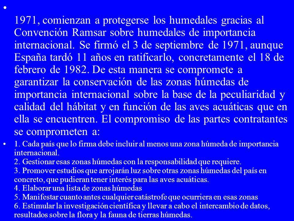 1971, comienzan a protegerse los humedales gracias al Convención Ramsar sobre humedales de importancia internacional. Se firmó el 3 de septiembre de 1