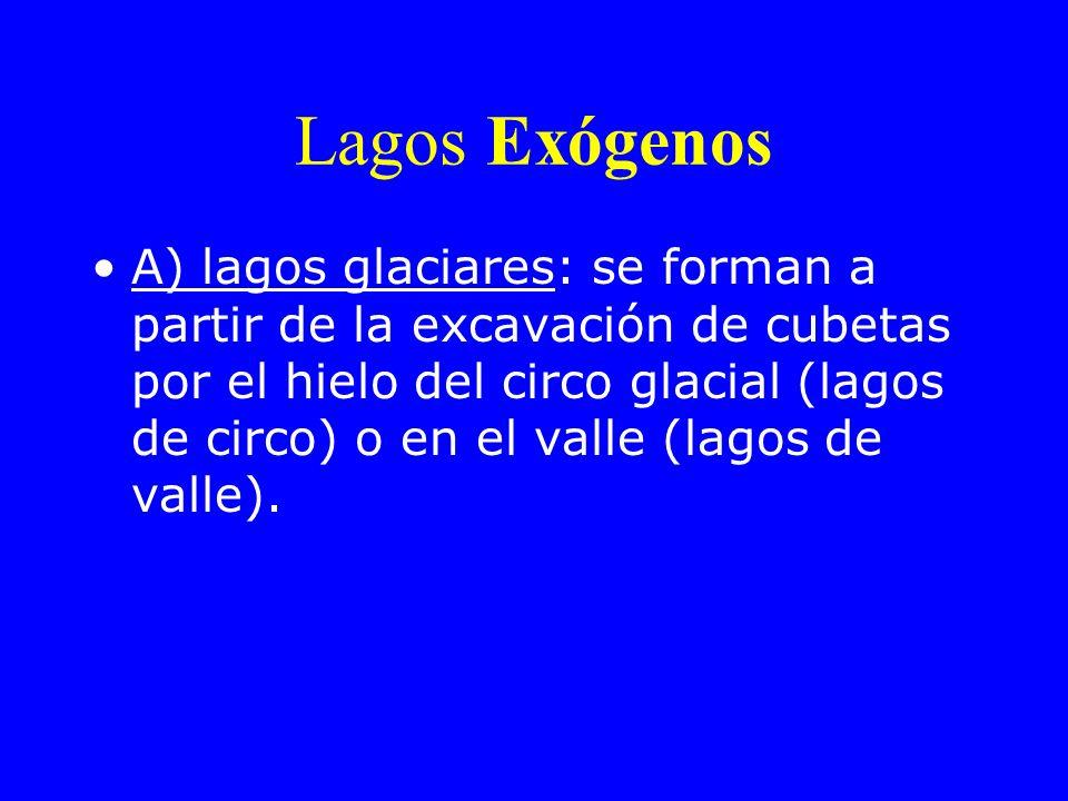 Lagos Exógenos A) lagos glaciares: se forman a partir de la excavación de cubetas por el hielo del circo glacial (lagos de circo) o en el valle (lagos