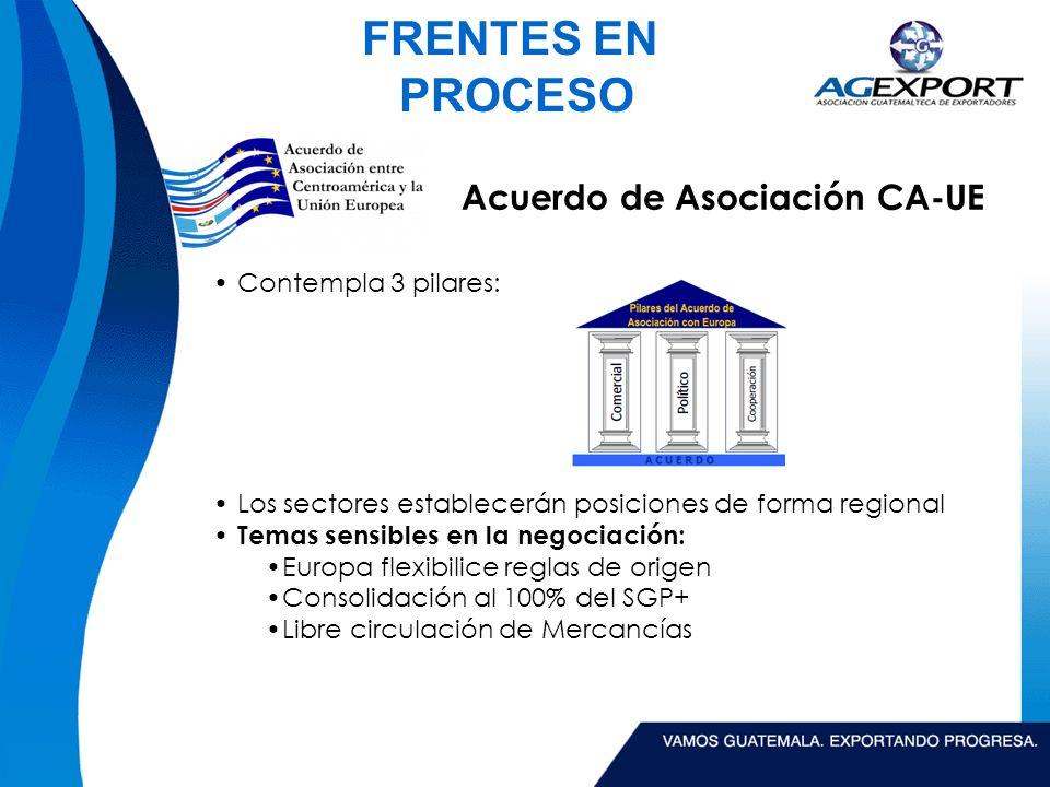 FRENTES EN PROCESO Acuerdo de Asociación CA-UE Contempla 3 pilares: Los sectores establecerán posiciones de forma regional Temas sensibles en la negociación: Europa flexibilice reglas de origen Consolidación al 100% del SGP+ Libre circulación de Mercancías