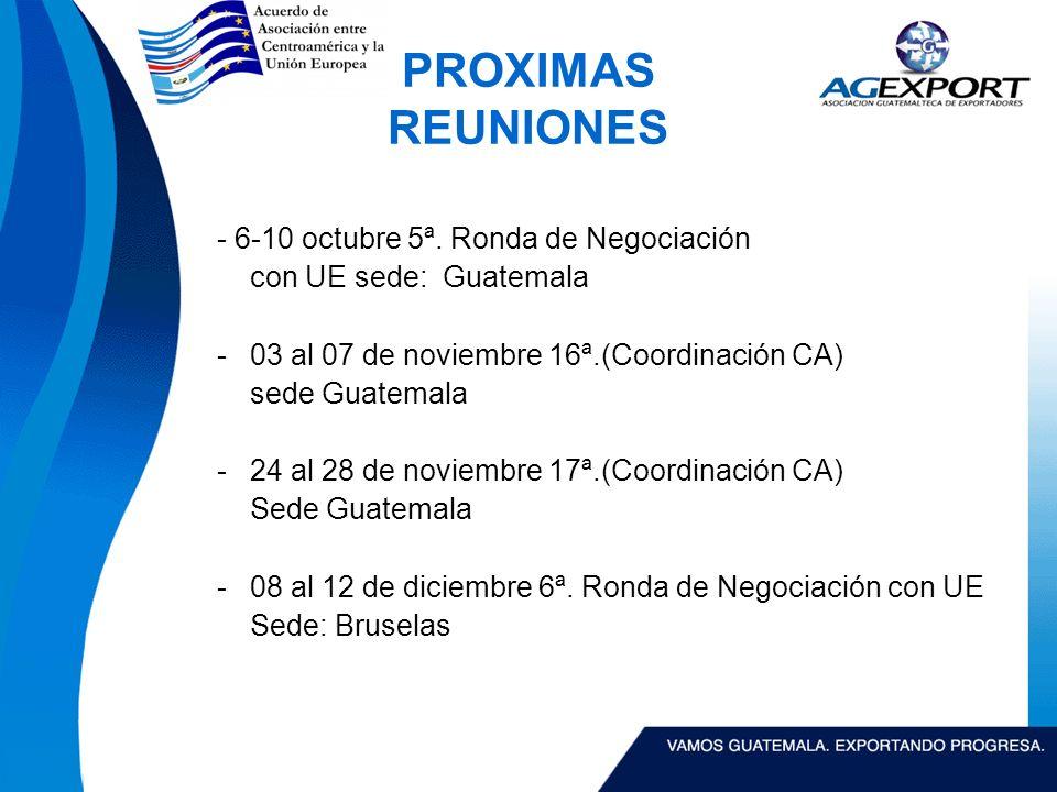 PROXIMAS REUNIONES - 6-10 octubre 5ª.