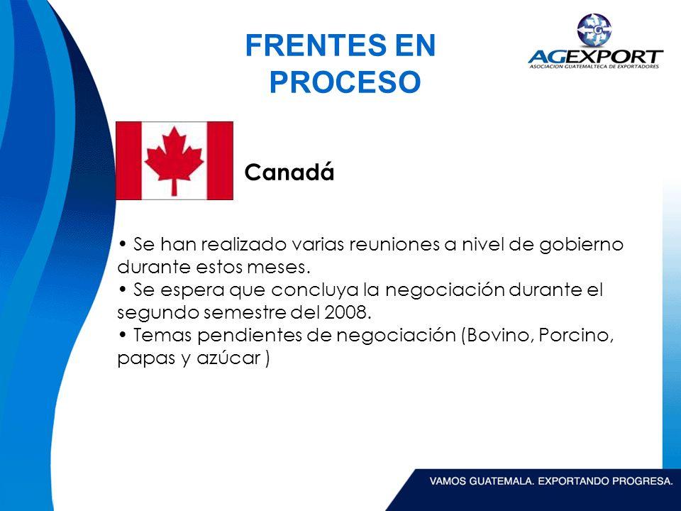 FRENTES EN PROCESO Canadá Se han realizado varias reuniones a nivel de gobierno durante estos meses.