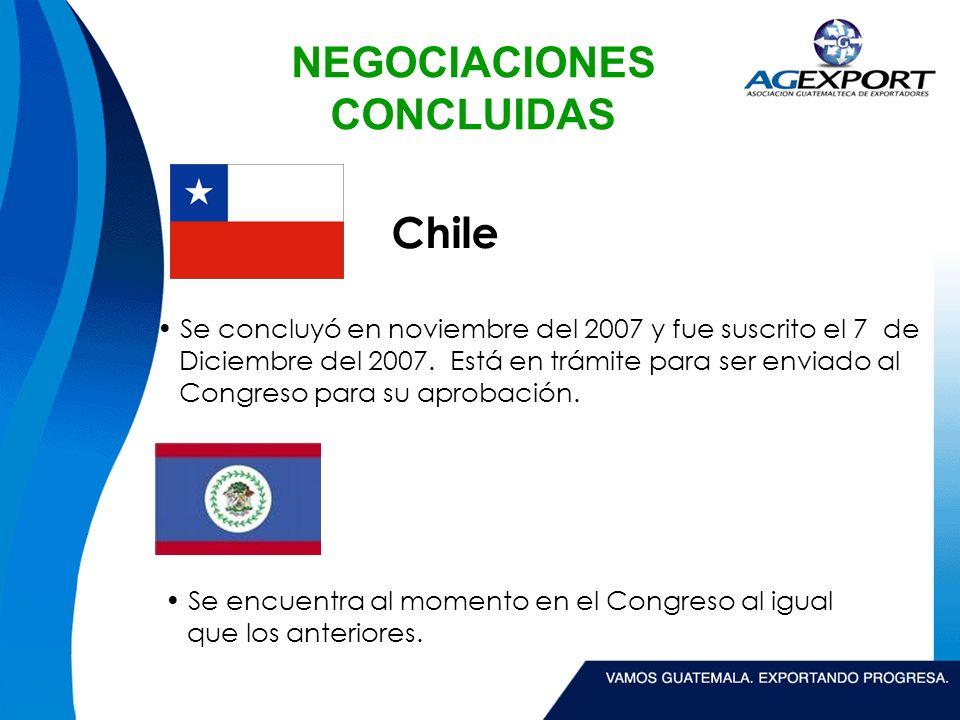 NEGOCIACIONES CONCLUIDAS Panamá Se concluyo su negociación el 31 de enero del 2008 y fue suscrito en febrero de 2008.
