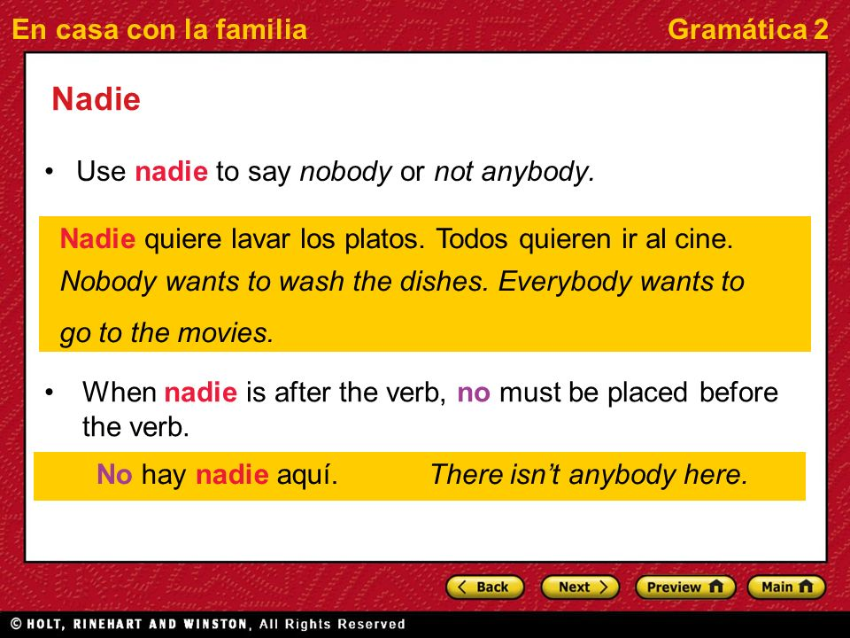 En casa con la familiaGramática 2 Nadie Use nadie to say nobody or not anybody.