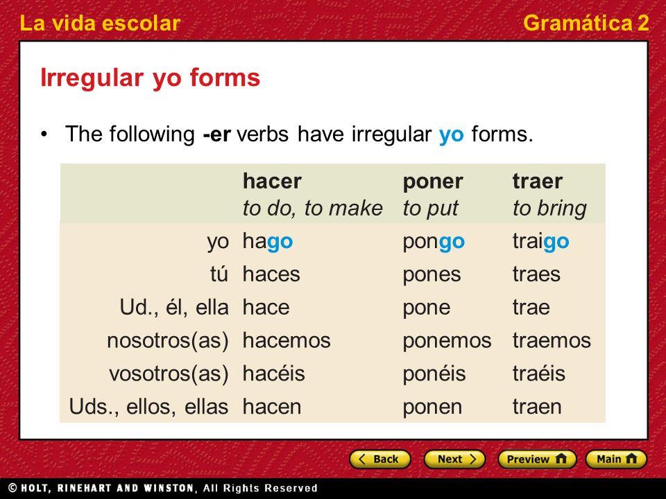 La vida escolarGramática 2 Irregular yo forms The following -er verbs have irregular yo forms. traenponen hacen Uds., ellos, ellas traéisponéishacéis