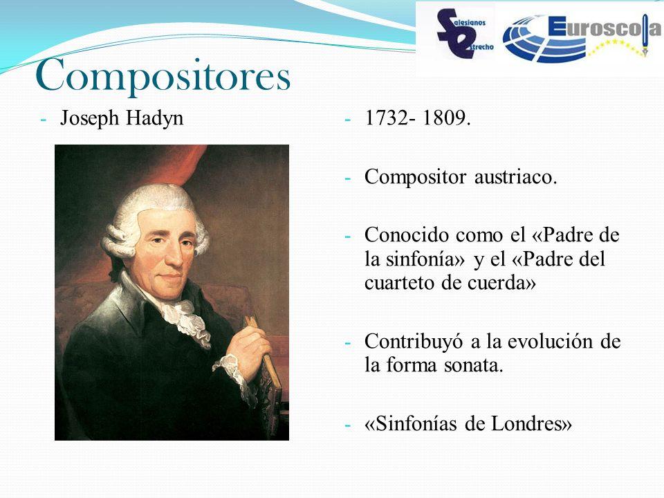 Compositores - Joseph Hadyn - 1732- 1809. - Compositor austriaco. - Conocido como el «Padre de la sinfonía» y el «Padre del cuarteto de cuerda» - Cont