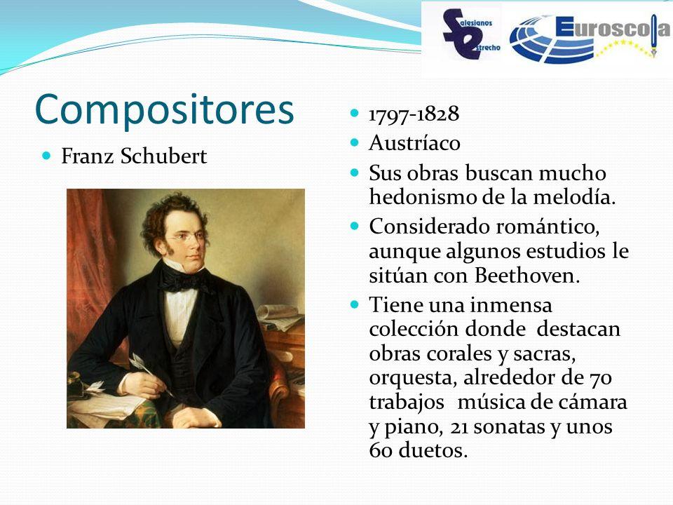 Compositores Franz Schubert 1797-1828 Austríaco Sus obras buscan mucho hedonismo de la melodía. Considerado romántico, aunque algunos estudios le sitú