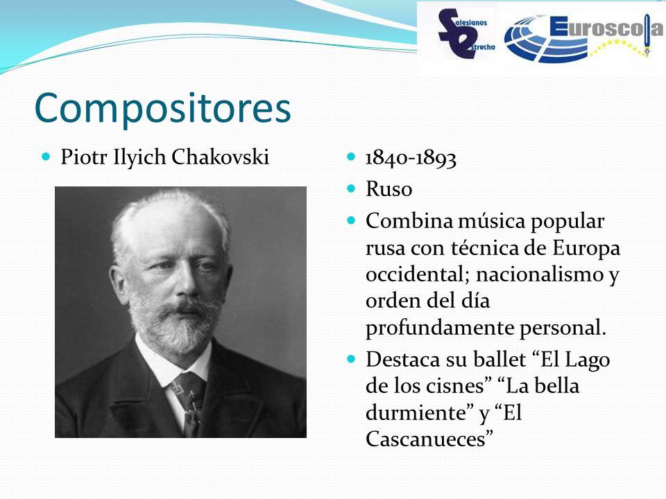 Compositores Piotr Ilyich Chakovski 1840-1893 Ruso Combina música popular rusa con técnica de Europa occidental; nacionalismo y orden del día profunda