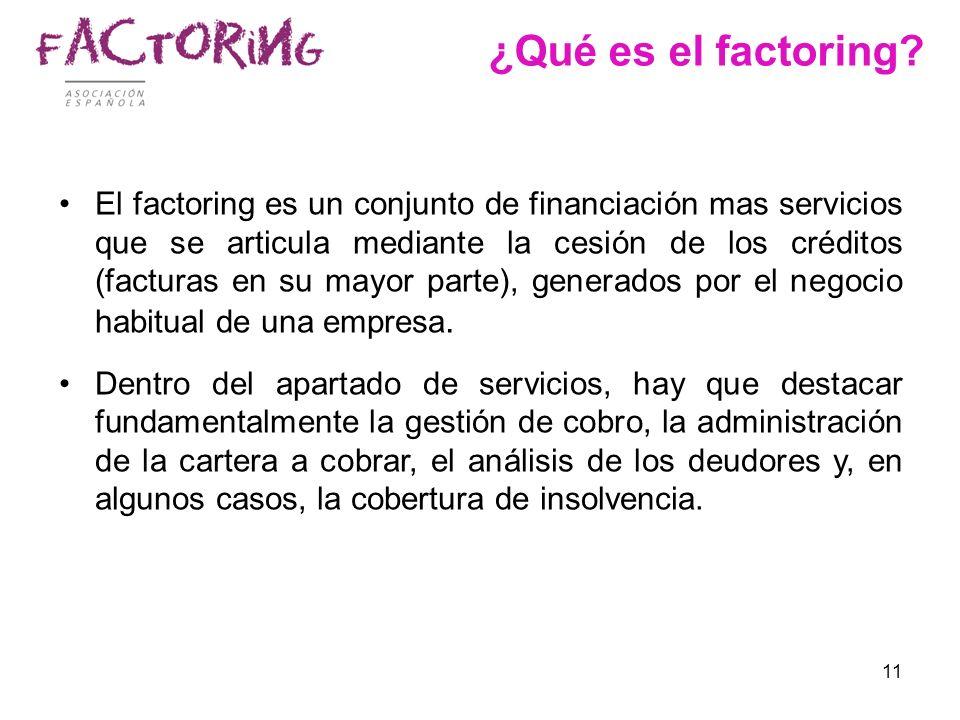 11 ¿Qué es el factoring? El factoring es un conjunto de financiación mas servicios que se articula mediante la cesión de los créditos (facturas en su