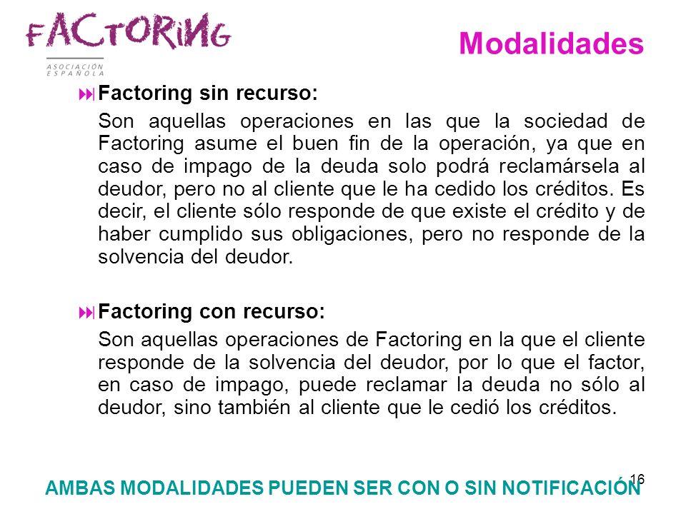 16 Modalidades Factoring sin recurso: Son aquellas operaciones en las que la sociedad de Factoring asume el buen fin de la operación, ya que en caso d