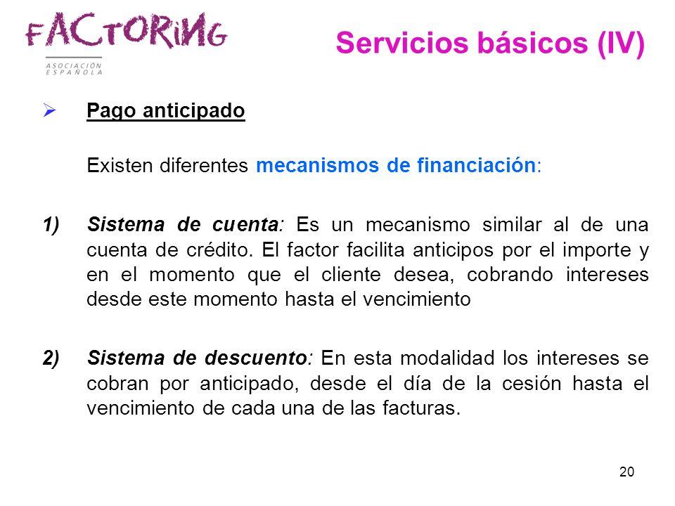 20 Servicios básicos (IV) Pago anticipado Existen diferentes mecanismos de financiación: 1)Sistema de cuenta: Es un mecanismo similar al de una cuenta