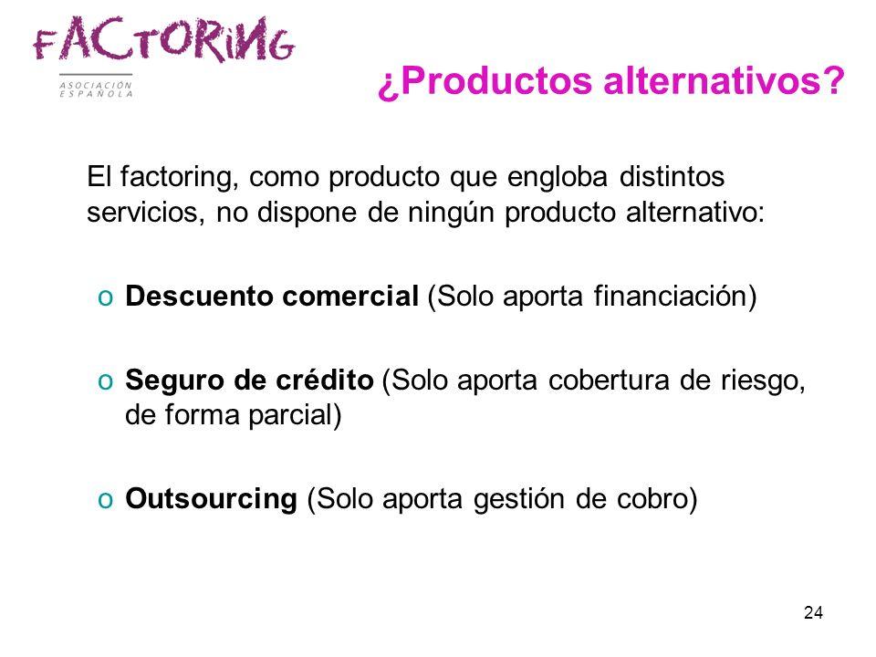 24 ¿Productos alternativos? El factoring, como producto que engloba distintos servicios, no dispone de ningún producto alternativo: oDescuento comerci
