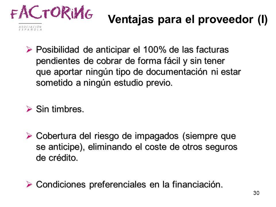 30 Ventajas para el proveedor (I) Posibilidad de anticipar el 100% de las facturas pendientes de cobrar de forma fácil y sin tener que aportar ningún