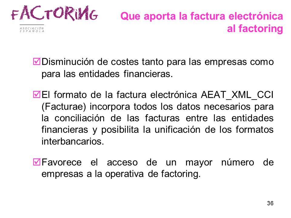 36 Que aporta la factura electrónica al factoring Disminución de costes tanto para las empresas como para las entidades financieras. El formato de la