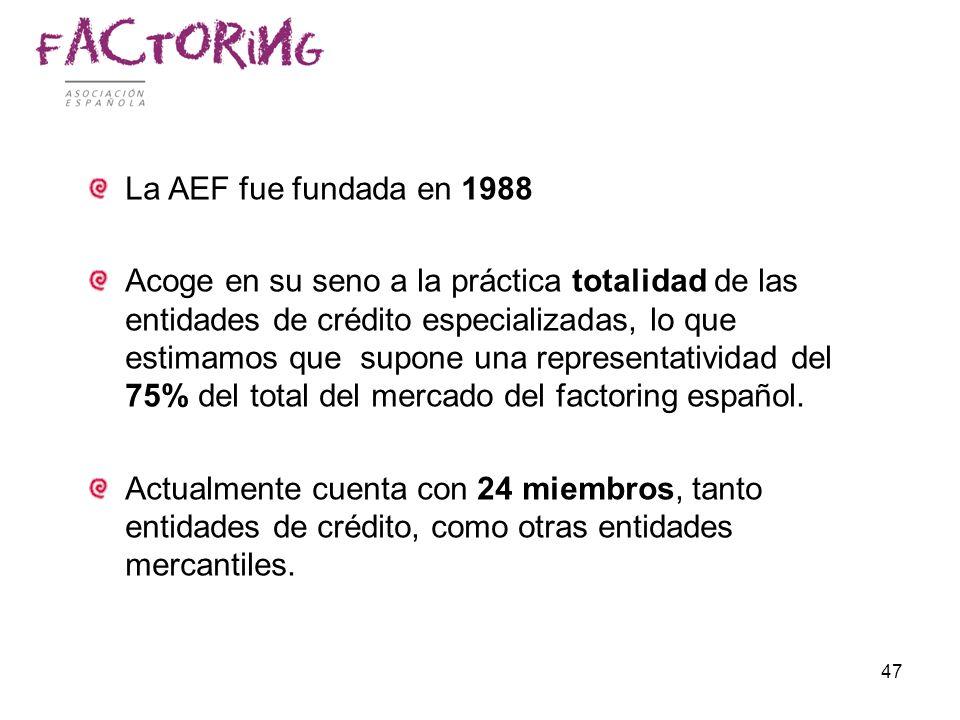 47 La AEF fue fundada en 1988 Acoge en su seno a la práctica totalidad de las entidades de crédito especializadas, lo que estimamos que supone una rep