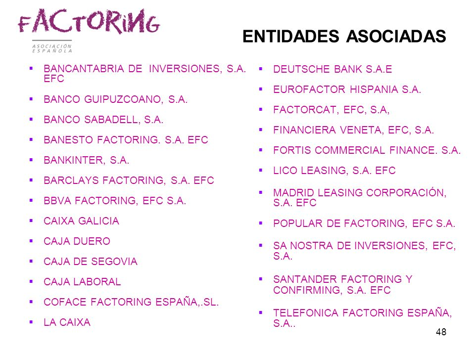 48 ENTIDADES ASOCIADAS BANCANTABRIA DE INVERSIONES, S.A. EFC BANCO GUIPUZCOANO, S.A. BANCO SABADELL, S.A. BANESTO FACTORING. S.A. EFC BANKINTER, S.A.