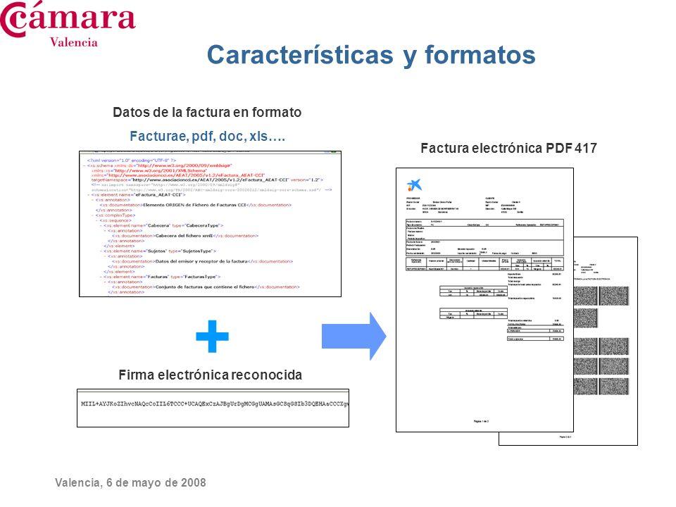 Valencia, 6 de mayo de 2008 Características y formatos + Datos de la factura en formato Facturae, pdf, doc, xls…. Firma electrónica reconocida Factura