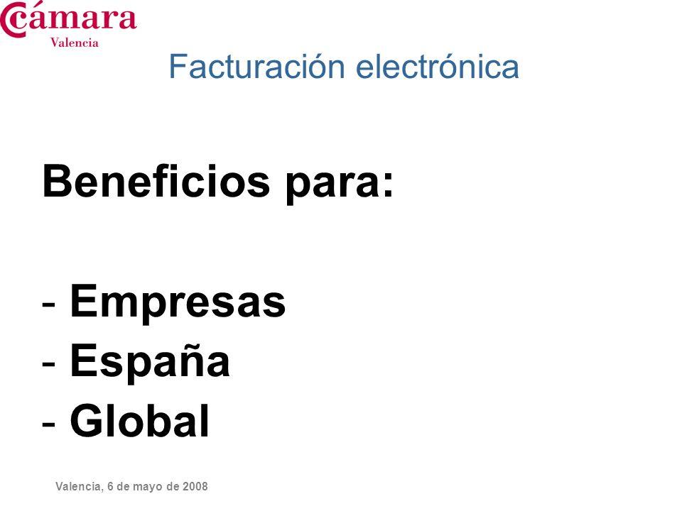 Valencia, 6 de mayo de 2008 Facturación electrónica Beneficios para: - Empresas - España - Global
