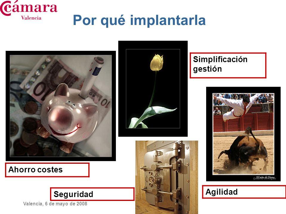 Valencia, 6 de mayo de 2008 Otros de los beneficios son: Imagen Aparecer como empresa puntera en las nuevas tecnologías.