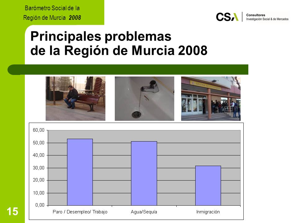 15 Principales problemas de la Región de Murcia 2008 Barómetro Social de la Región de Murcia 2008