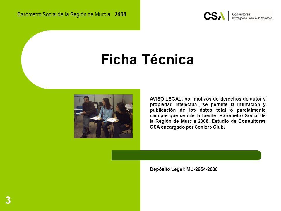 3 Ficha Técnica AVISO LEGAL: por motivos de derechos de autor y propiedad intelectual, se permite la utilización y publicación de los datos total o parcialmente siempre que se cite la fuente: Barómetro Social de la Región de Murcia 2008.