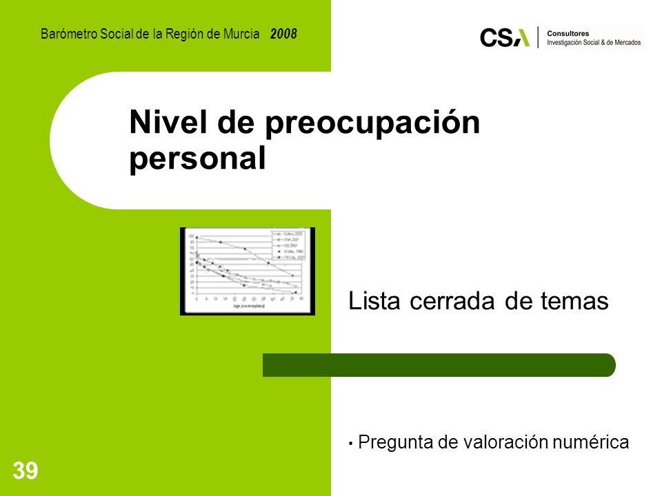 39 Nivel de preocupación personal Lista cerrada de temas Pregunta de valoración numérica Barómetro Social de la Región de Murcia 2008